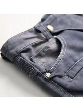 Stylish Stitching Pockets Gray Destroyed Jeans