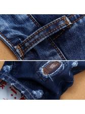 Summer Patch Stitching Blue Denim Shorts