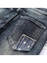 Stylish Patch Stitching Pockets Black Denim Jeans