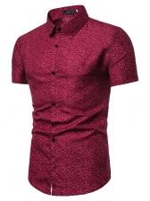 Turndown Collar Printed Short Sleeves Shirt For Men