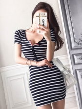 Sexy V Neck Striped Short Sleeve Dress