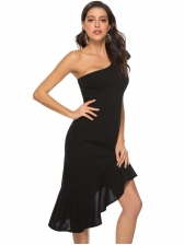 Inclined Shoulder Asymmetrical Hem Elegant Black Dress