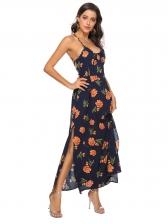 Spaghetti Strap Backless Printing Beach Maxi Dress