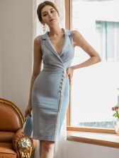 Tailored Collar Single-Breasted Fitted Sleeveless Dress