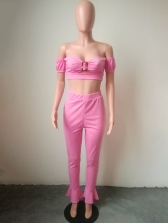 Sexy Boat Neck Skinny Pink Two Piece Trouser Sets