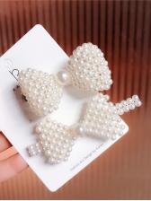 Sweet Binding Bow Pearls Hair Clip
