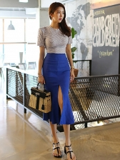 Striped Backless T-shirt With Split Pencil Skirt