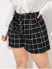 Euro Plaid Lace Up Plus Size Straight Shorts