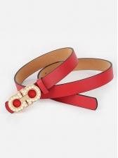 Simple Design Faux Pearl Decor Black Belt For Women