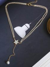 Star Faux Pearl Rhinestone Decor Womens Necklace