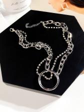 Round Ring Decor Rhinestone Necklace