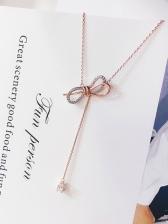 Hot Sale Bow Rhinestone Decor Womens Necklace