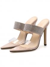 Euro Diamond PVC Thin Heel Lady Slippers