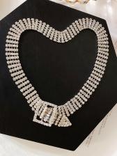 Four-Row Rhinestone Decor Necklace For Women