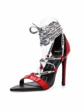 Euro Letter Lace Up Pointed Pu Red Heel Sandals