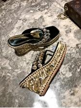 Fashionable Beading Square Toe Platform Flip Flop