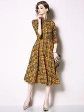 Fashion Plaid Printing Yellow Dress