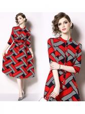 Contrast Color Geometric Print Dress
