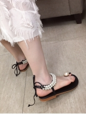 Roman Style Pearl Patchwork Lace Up Flat Sandals