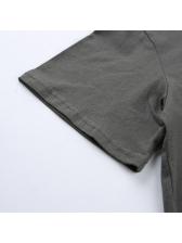 Crew Neck Letter Short Sleeve Crop T-Shirt