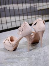 Peep-toe Rivets Patchwork Stiletto Heels