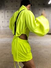 High Neck Lantern Sleeve Bodysuit With Hot Pants