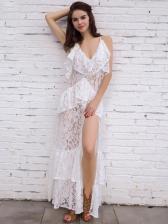 Sexy V Neck Solid Spaghetti Strap Maxi Dress