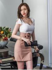 Sexy Plunging V Neck Patchwork Split Dress