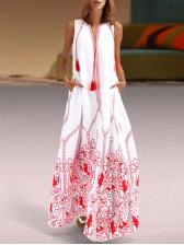 European Style Print Tassel Sleeveless Maxi Dress