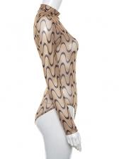 Mock Neck Perspective Wave Printed Bodysuit