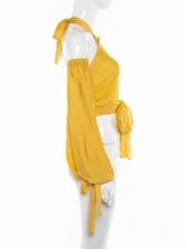 Hot Sale Lantern Sleeve Halter Womens Blouse