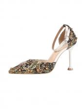 Euro Floral Rhinestone Stiletto Ankle Strap Heels
