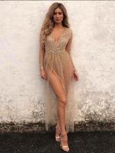 Sexy V Neck Gauze Perspective Maxi Dress