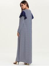 Crew Neck Striped Maxi Muslim Dress