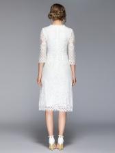 Office Lady V Neck Lace Dresses