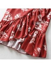 Summer Ruffles Irregular Red Midi Skirt