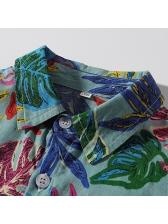 Trendy Leaf Printed Turndown Neck Boys Shirt