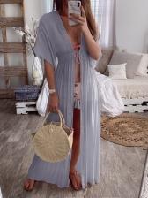 Deep V Neck Tie-Wrap Maxi Dress For Holiday