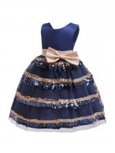 Bow Sequin Stitching Gauze Girls Dress