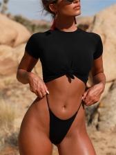 Simple Design Knots Round Neck Female Swimwear