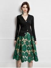 Euro Lace Stitching Midi Skirt For Women