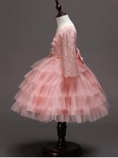 Gauze Stitching Lace Fluffy Girls Princess Dress