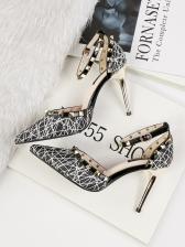 Pointed Toe Crossed Line Ankle Strap Heels