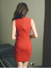 Sheer Stitching Mock Neck Sleeveless Mini Dress