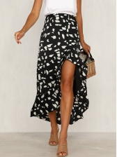 Euro Irregular Flounced Hem Printed Maxi Skirt
