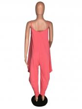 V Neck Solid Color Loose Jumpsuit