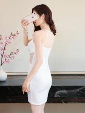 Sexy V Neck Solid Sleeveless Sheath Dress