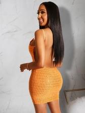 Sexy Low-Cut Backless Diamond Decor Short Dress