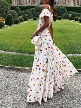 Sexy Off Shoulder Print Maxi Dress