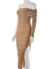 One Shoulder Gauze Panel Draped Bodycon Dress